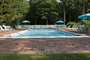 Silver Sands Motel Swimming Pool Beach Greenport New York on Peconic Bay facing Shelter Island on the North Fork