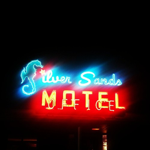 Silver Sands Motel Famous 1950s neon sign Beach Greenport New York on Peconic Bay facing Shelter Island on the North Fork